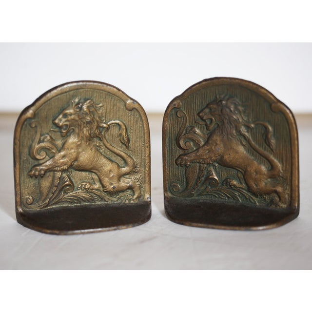 European Antique Brass Bookends - Image 5 of 6