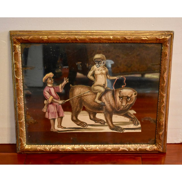 Figurative 19th C. French Exotic Hand-Painted Decoupage Mirror, Animal Trainer, Monkey & Bear For Sale - Image 3 of 13