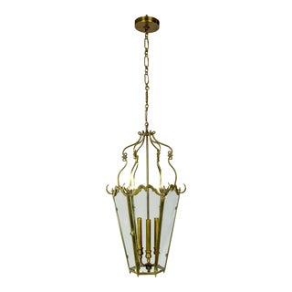Belle Epoque Brass Tapered Hex Lantern For Sale
