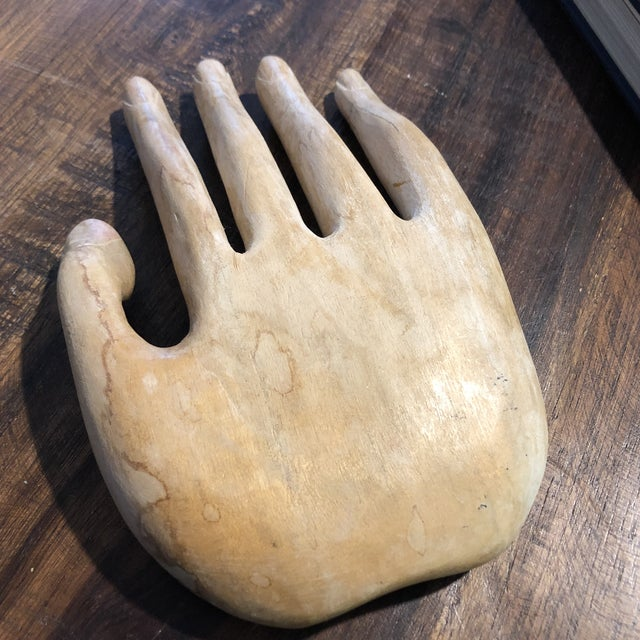 Vintage Bohemian Carved Wood Human Hand Sculpture For Sale - Image 4 of 7