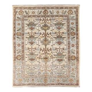 Modern Oushak Handmade Beige Designed Floral Pattern Wool Rug For Sale