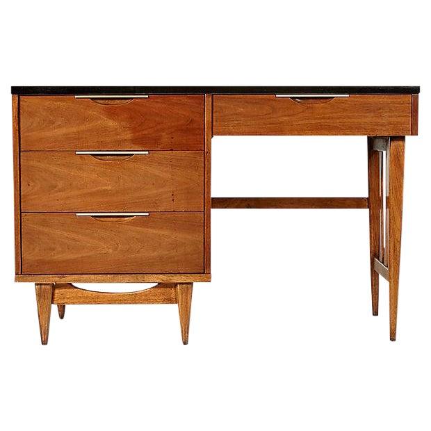 1960s Walnut & Black Top Desk - Image 1 of 5