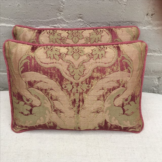 Antique Pink And Red Textile Pillows - Pair - Image 2 of 5