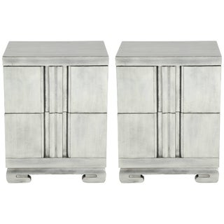 1940s Hollywood Regency James Mont Influenced Silver Leaf Nightstands - a Pair For Sale