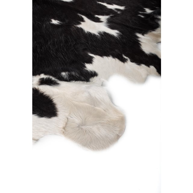Animal Skin Handmade Black & White Cowhide Area Rug - 6′ × 7′ For Sale - Image 7 of 8