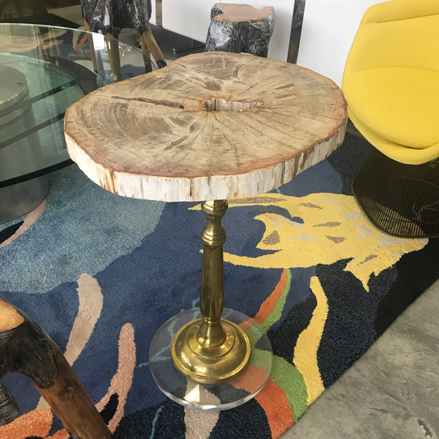 Petrified Wood Side Table With Lucite Base For Sale - Image 10 of 10