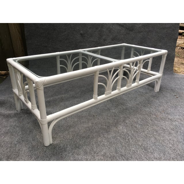 Vintage Rattan Glass Top White Cocktail Table Chairish