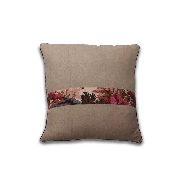 A pillow made from a reproduction fabric inspired by a 19th century design, backed with coordinating Belgian linen. Note:...