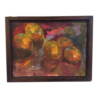 Vintage Oil on Canvas Abstract Still Life of Oranges For Sale