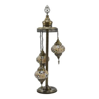 Turkish Moroccan Mosaic Bohemian 3 Globes Floor Lamp For Sale