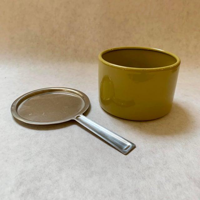 Cathrineholm Mid-Century Grete Prytz Kittelsen for Cathrineholm Scandinavian Enamel Lotus Fondue Set For Sale - Image 4 of 9