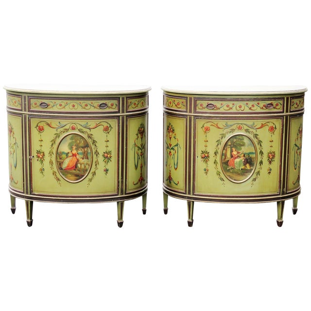 Adams Style Paint Decorated Commodes - A Pair For Sale