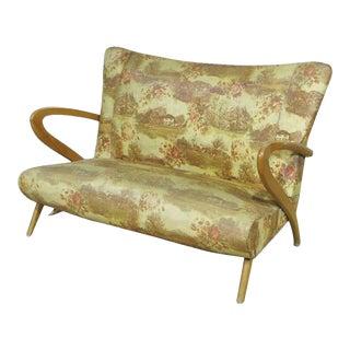 Italian Zanuso Style Boomerang Settee Couch Sofa Mid-Century Modern, Circa 1950 For Sale