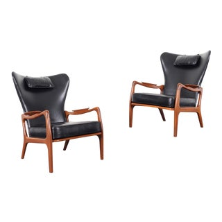 1960s Vintage Model 1410-C Leather Lounge Chairs by Adrian Pearsall - a Pair For Sale