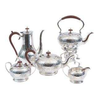 English Five-Piece Silver Plate Tea or Coffee Service with Wood Handle - Set of 5 For Sale