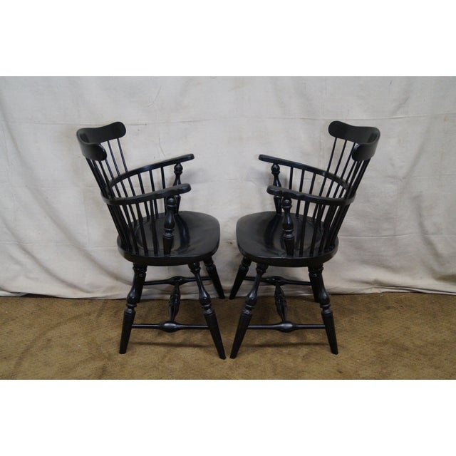 One Armed Windsor Accent Chair: Duckloe Brothers Black Windsor Arm Chairs