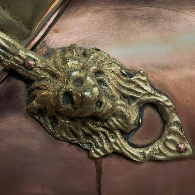 Late 19th Century Coal Scuttle, 19th Century Handmade Copper and Brass For Sale - Image 5 of 11