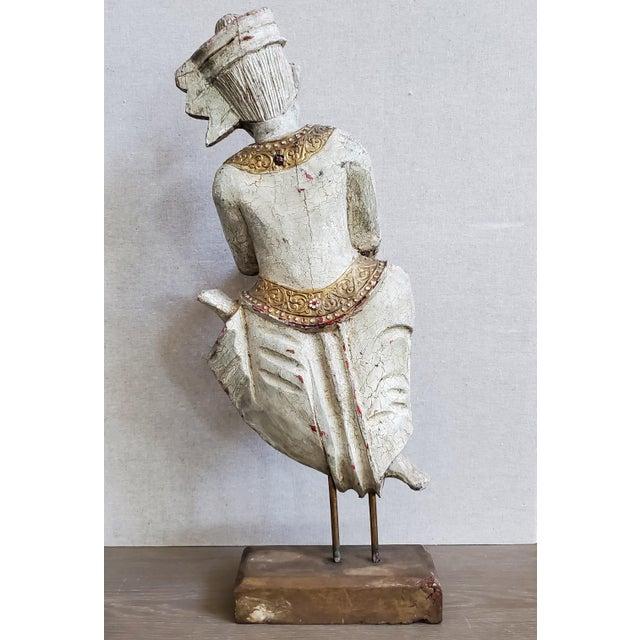 Vintage Thai Carved Wood Sculptural Statue For Sale - Image 10 of 13