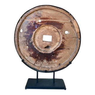 Modern Art Sculpture Made From Antique Grist Mill Grinding Wheel Disc Industrial Chic For Sale