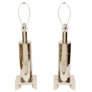 James Mont Style Modernist Nickel Silver Lamps - a Pair For Sale