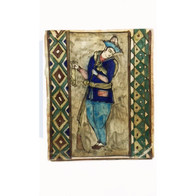 """Ceramic """"The Hunter"""" Antique Hand Painted Persian Tile For Sale - Image 7 of 7"""