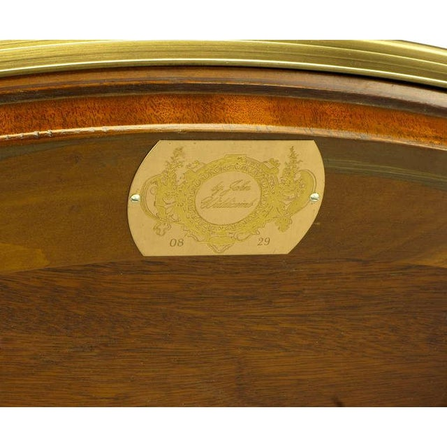 John Widdicomb Regency Center Table With Crotch Mahogany Parquetry Top For Sale - Image 10 of 11