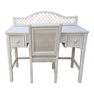 Henry Link White Wicker Desk & Chair For Sale