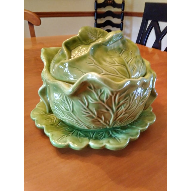 1970s Majolica Cabbage Tureen With Serving Platter For Sale - Image 9 of 9