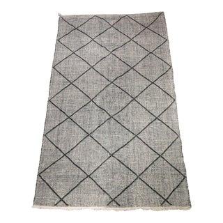 """Black and White Lattice Pattern Zanafi Moroccan Rug - 9'9"""" X 6'5"""" For Sale"""