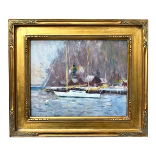 Vintage American Impressionist Oil Painting Sail Boat Little Neck Ny by Barton For Sale