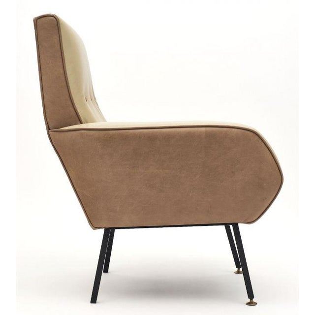 French Modernist Two-Toned Leather Armchairs - a Pair For Sale - Image 10 of 12