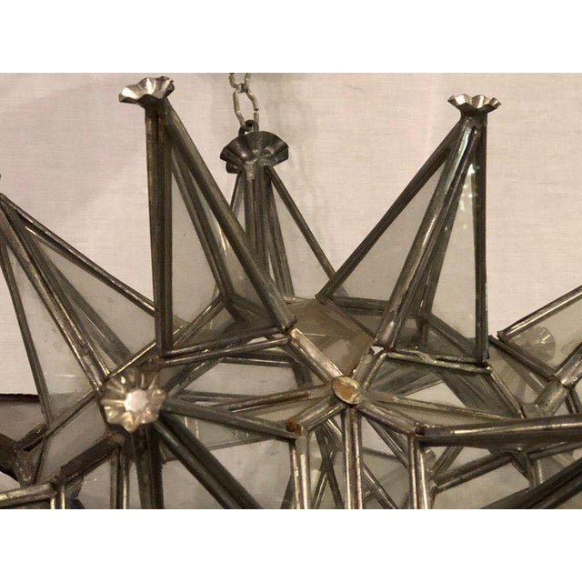 Pair of Sputnik Star Light Fixtures Lead Glass Art Deco Style Not Wired For Sale - Image 11 of 13
