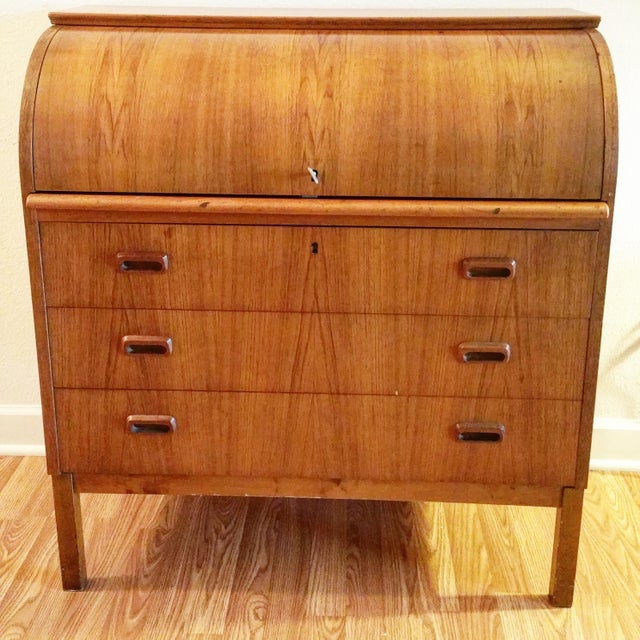 Danish Mid-Century Modern Roll Top Secretary Desk - Image 2 of 9