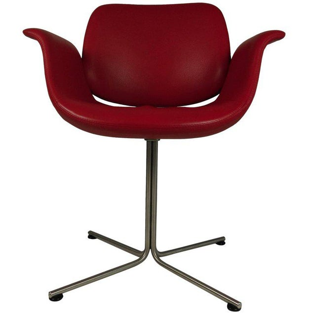 Red Foersom & Hjorth-Lorenzen Red Leather Flamingo Armchair For Sale - Image 8 of 8