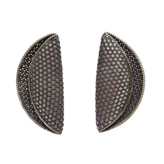 Early Signed John Hardy Woven Sterling Silver Sculptural Clip Earrings - a Pair For Sale