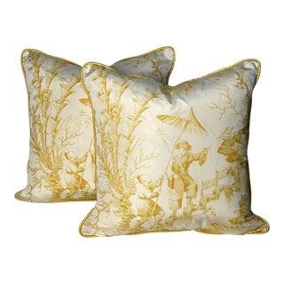 "Scalamandre ""Pillemont Toile"" Silk Hand-Print 18"" Pillows - a Pair For Sale"