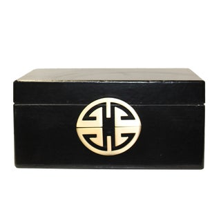 Oriental Round Hardware Black Rectangular Container Box Large For Sale