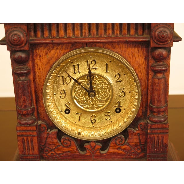 Antique Victorian Oak Mantle Clock Age: Approx: 120 Years Old Details: High Quality Construction Key Wind UPS $25...