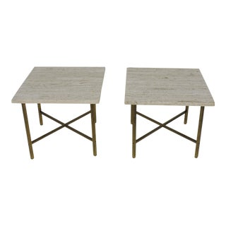 Mid-Century Modern Travertine Marble and Brass Square Coffee or End Tables - Set of 2 For Sale