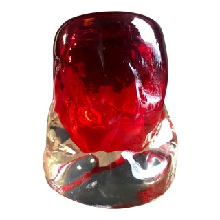1950s Murano Freeform Thick Walled Ruby Red Vase For Sale
