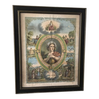 1872 Antique Rebekah Odd Fellows Lithograph For Sale