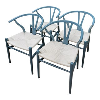 Ch24 Vintage Blue Hans Wegner Wishbone Chairs - Set of 4 For Sale
