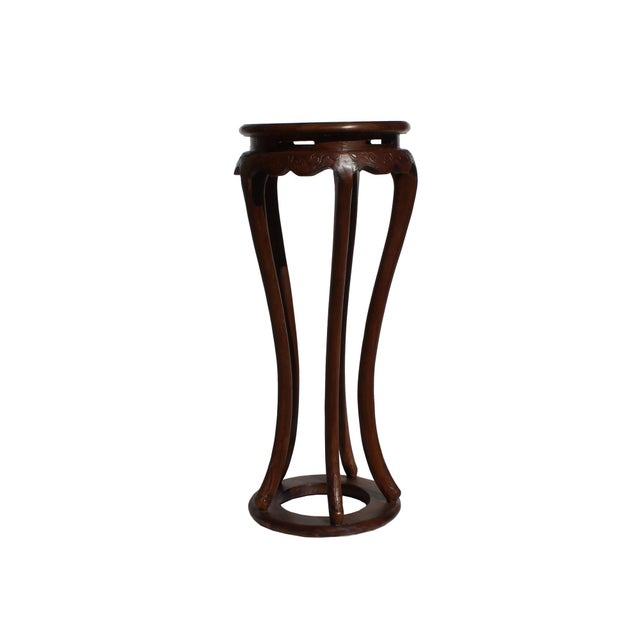 Wood Chinese Brown Tall Round 5 Legs Plant Stand Pedestal Table For Sale - Image 7 of 7