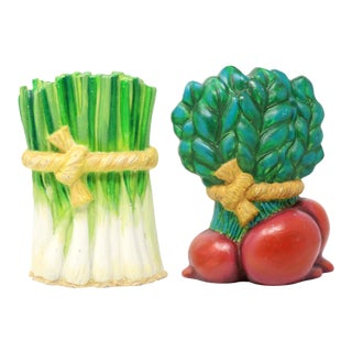Cast Iron Vegetables With Rope Ties Door Stops or Bookends - Set of 2 For Sale