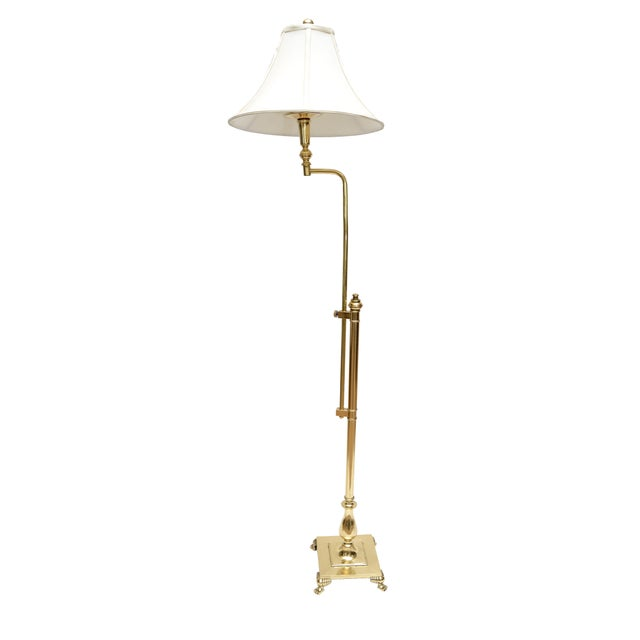 Gold Hollywood Regency Tall Swing Arm Brass Floor Lamp with Shade For Sale - Image 8 of 8