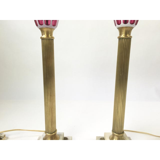 1940s Italian Art Glass Brass Column Lamps - a Pair For Sale - Image 5 of 9