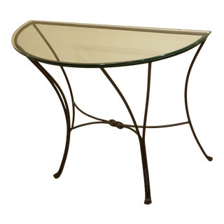 Curvy Black Demi-Lune Table With Clear Crystal Glass For Sale