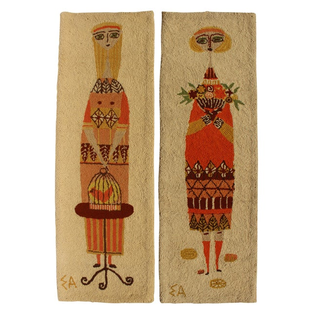 Evelyn Ackerman Girl With Birdcage & Girl With Flowers Tapestries - A Pair For Sale