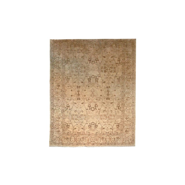Vintage Hand-Knotted Wool Chobi Gold Rug 8x9 For Sale