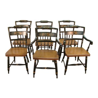 1980s Vintage Hitchcock Paint Decorated Dining Chairs- Set of 6 For Sale